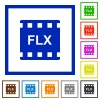 FLX movie format flat framed icons - FLX movie format flat color icons in square frames on white background