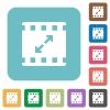 Movie resize large rounded square flat icons - Movie resize large white flat icons on color rounded square backgrounds
