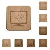 Adjust screen brightness wooden buttons - Adjust screen brightness on rounded square carved wooden button styles