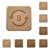 Bitcoin pay back wooden buttons - Bitcoin pay back on rounded square carved wooden button styles
