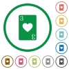 Three of hearts card flat icons with outlines - Three of hearts card flat color icons in round outlines on white background