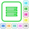 Rack servers vivid colored flat icons - Rack servers vivid colored flat icons in curved borders on white background