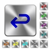 Back arrow rounded square steel buttons - Back arrow engraved icons on rounded square glossy steel buttons