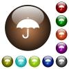 Umbrella color glass buttons - Umbrella white icons on round color glass buttons