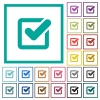 Checkbox flat color icons with quadrant frames - Checkbox flat color icons with quadrant frames on white background