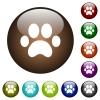 Paw prints color glass buttons - Paw prints white icons on round color glass buttons
