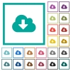Cloud download flat color icons with quadrant frames - Cloud download flat color icons with quadrant frames on white background
