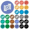 Ruble coins round flat multi colored icons - Ruble coins multi colored flat icons on round backgrounds. Included white, light and dark icon variations for hover and active status effects, and bonus shades on black backgounds.