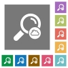 Cloud search flat icons on simple color square backgrounds - Cloud search square flat icons