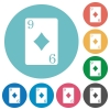 Nine of diamonds card flat round icons - Nine of diamonds card flat white icons on round color backgrounds