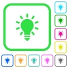 Lighting bulb vivid colored flat icons in curved borders on white background - Lighting bulb vivid colored flat icons