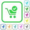 Checkout vivid colored flat icons - Checkout vivid colored flat icons in curved borders on white background