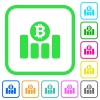 Bitcoin financial graph vivid colored flat icons - Bitcoin financial graph vivid colored flat icons in curved borders on white background