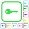 Safety key vivid colored flat icons - Safety key vivid colored flat icons in curved borders on white background