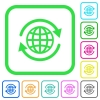 International vivid colored flat icons - International vivid colored flat icons in curved borders on white background