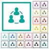 Online users flat color icons with quadrant frames - Online users flat color icons with quadrant frames on white background