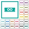 Memory optimization flat color icons with quadrant frames - Memory optimization flat color icons with quadrant frames on white background