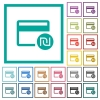 Shekel credit card flat color icons with quadrant frames - Shekel credit card flat color icons with quadrant frames on white background