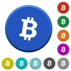 Bitcoin digital cryptocurrency beveled buttons - Bitcoin digital cryptocurrency round color beveled buttons with smooth surfaces and flat white icons