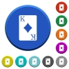 King of diamonds card beveled buttons - King of diamonds card round color beveled buttons with smooth surfaces and flat white icons