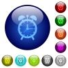 Alarm clock color glass buttons - Alarm clock icons on round color glass buttons