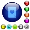 Nine of hearts card color glass buttons - Nine of hearts card icons on round color glass buttons