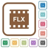 FLX movie format simple icons - FLX movie format simple icons in color rounded square frames on white background