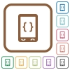 Mobile software development simple icons - Mobile software development simple icons in color rounded square frames on white background