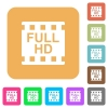 Full HD movie format rounded square flat icons - Full HD movie format flat icons on rounded square vivid color backgrounds.