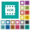 VCR movie standard multi colored flat icons on plain square backgrounds. Included white and darker icon variations for hover or active effects. - VCR movie standard square flat multi colored icons
