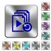 Undo last playlist operation rounded square steel buttons - Undo last playlist operation engraved icons on rounded square glossy steel buttons