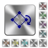 Rotate element rounded square steel buttons - Rotate element engraved icons on rounded square glossy steel buttons