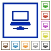 Network computer flat framed icons - Network computer flat color icons in square frames on white background