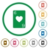 Six of hearts card flat icons with outlines - Six of hearts card flat color icons in round outlines on white background