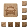 Taxi wooden buttons - Taxi on rounded square carved wooden button styles