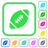 Rugby ball vivid colored flat icons - Rugby ball vivid colored flat icons in curved borders on white background