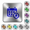 Calendar alarm rounded square steel buttons - Calendar alarm engraved icons on rounded square glossy steel buttons