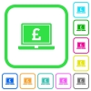 Laptop with Pound sign vivid colored flat icons - Laptop with Pound sign vivid colored flat icons in curved borders on white background