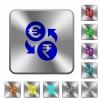 Euro Rupee money exchange rounded square steel buttons - Euro Rupee money exchange engraved icons on rounded square glossy steel buttons