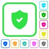 Active security vivid colored flat icons - Active security vivid colored flat icons in curved borders on white background