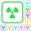 Radiation vivid colored flat icons - Radiation vivid colored flat icons in curved borders on white background