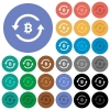 Bitcoin pay back round flat multi colored icons - Bitcoin pay back multi colored flat icons on round backgrounds. Included white, light and dark icon variations for hover and active status effects, and bonus shades on black backgounds.