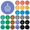 Birthday cupcake round flat multi colored icons - Birthday cupcake multi colored flat icons on round backgrounds. Included white, light and dark icon variations for hover and active status effects, and bonus shades on black backgounds.