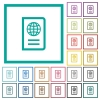 Passport flat color icons with quadrant frames - Passport flat color icons with quadrant frames on white background