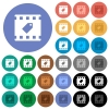 Tag movie round flat multi colored icons - Tag movie multi colored flat icons on round backgrounds. Included white, light and dark icon variations for hover and active status effects, and bonus shades on black backgounds.