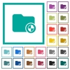 Directory protection flat color icons with quadrant frames - Directory protection flat color icons with quadrant frames on white background