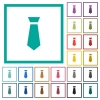 Tie flat color icons with quadrant frames - Tie flat color icons with quadrant frames on white background