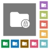 Lock directory square flat icons - Lock directory flat icons on simple color square backgrounds