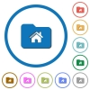 Home folder icons with shadows and outlines - Home folder flat color vector icons with shadows in round outlines on white background