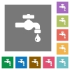 Water faucet with water drop square flat icons - Water faucet with water drop flat icons on simple color square backgrounds